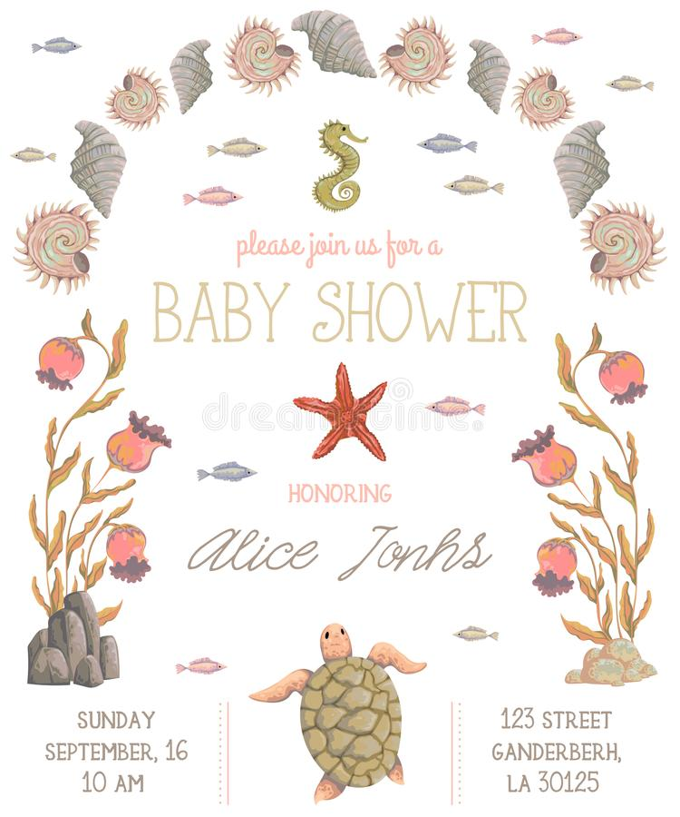 Baby shower invitation with sea plants, corals, seaweed, stones and animals. Hand drawn marine flora and fauna in watercolor style vector illustration