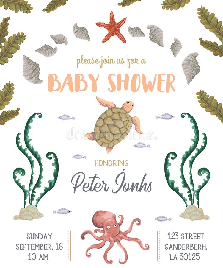 Baby shower invitation with sea plants, corals, seaweed, stones and animals. Hand drawn marine flora and fauna in watercolor style. Cute cartoon characters royalty free illustration
