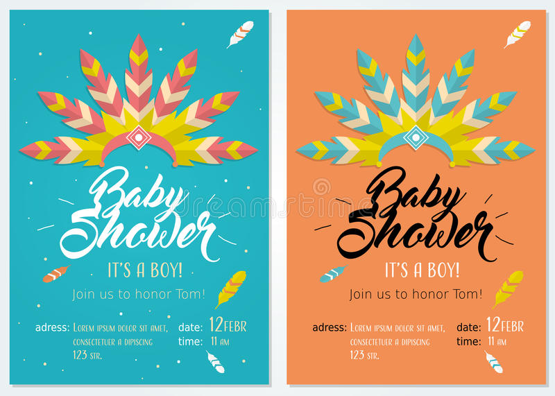 Baby shower invitation set with illustration of headdress for native american indian chief royalty free illustration