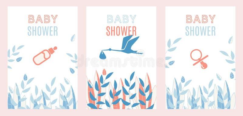 Baby Shower Invitation Simple Design Cards Set vector illustration