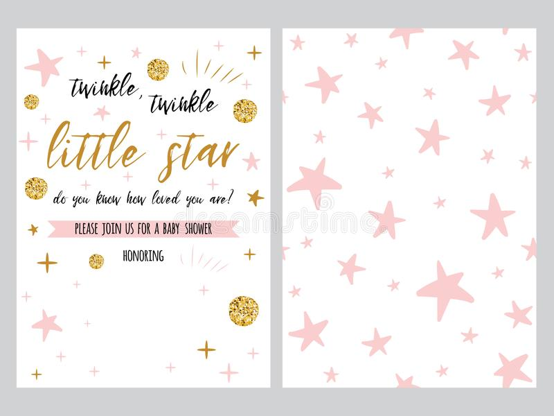 Baby shower invitation template backgtround with pink stars design baby shower invitation template with sparkle gold balls pink stars background gentle twinkle banner for children birthday party congratulation filmwisefo