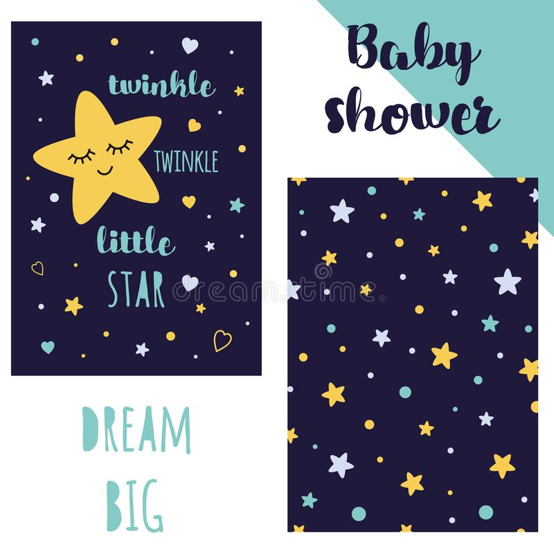 Baby shower invitation template, backgtround with stars Twinkle phrse Vector royalty free illustration