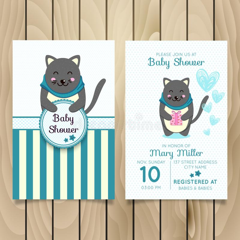 Baby Shower Invitation Template With Hand Lettering, Cute Clouds And ...