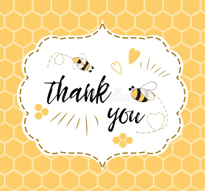 Baby Shower Invitation Template With Text Thank You With Bee, Honey ...