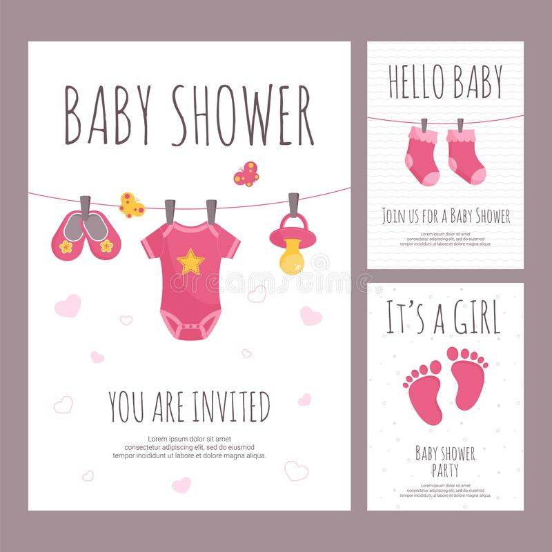 Baby shower invitation vector illustration set in flat style - vertical banners with pink toddler toys and clothing. vector illustration