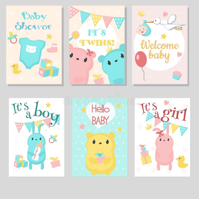 Baby shower invitation vector template set royalty free illustration