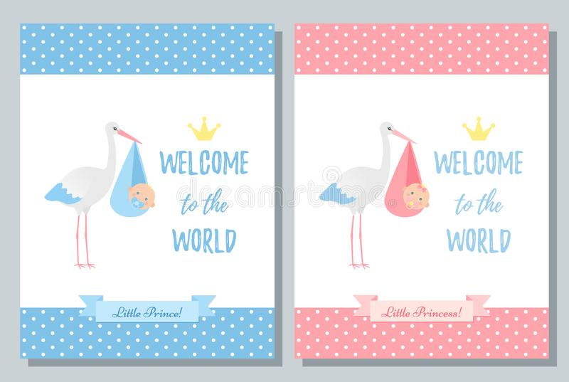 Baby Shower card design. Vector illustration. Birthday template invite. Baby Shower invite card. Vector. Baby boy, girl design. Cute pink, blue banner. Birth stock illustration