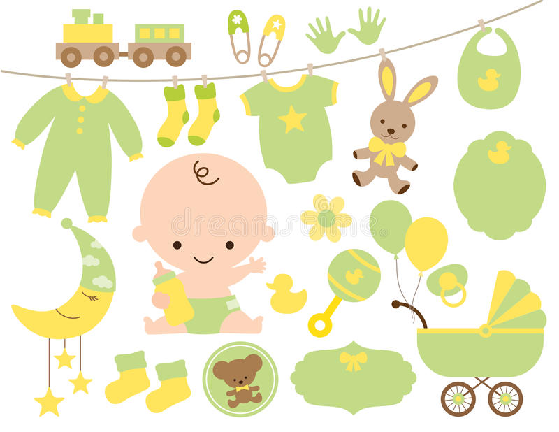 Baby Shower Item Set in Green and Yellow royalty free illustration