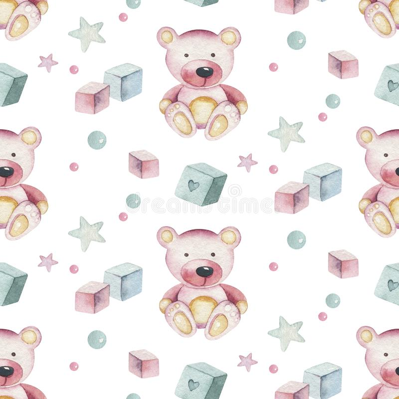 Baby shower kid swan watercolor girl seamless pattern butterfly cartoon elements. Set of baby pink dress and baby`s stock photo