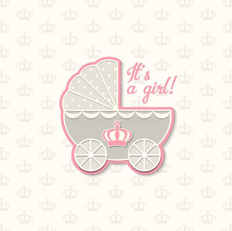 Baby shower med den kungliga kronan och blåtttappningsittvagnen, illustration royaltyfri illustrationer