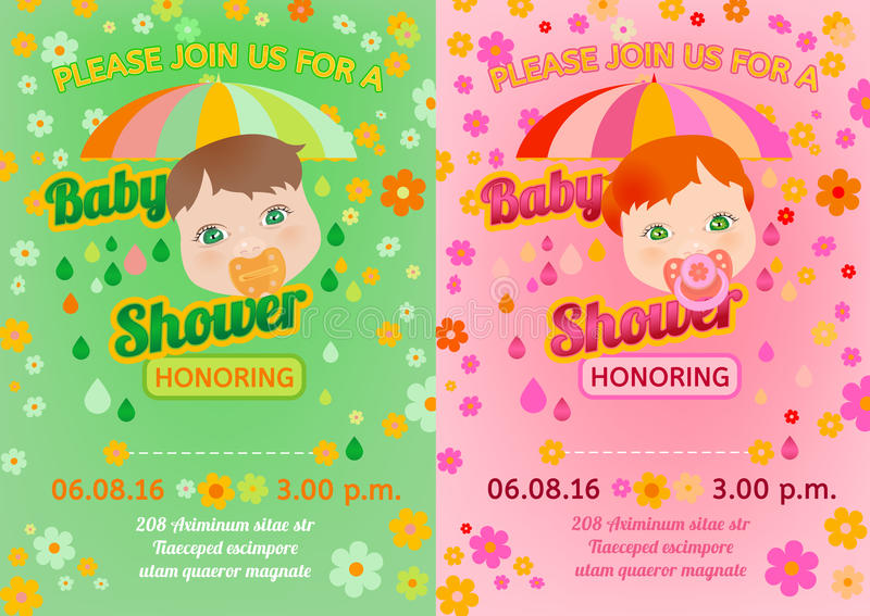 Download Baby Shower Message Card Stock Vector. Illustration Of Background    56837763