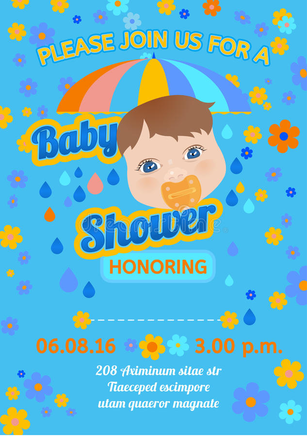 Baby Shower Message Card Stock Vector Illustration Of Face