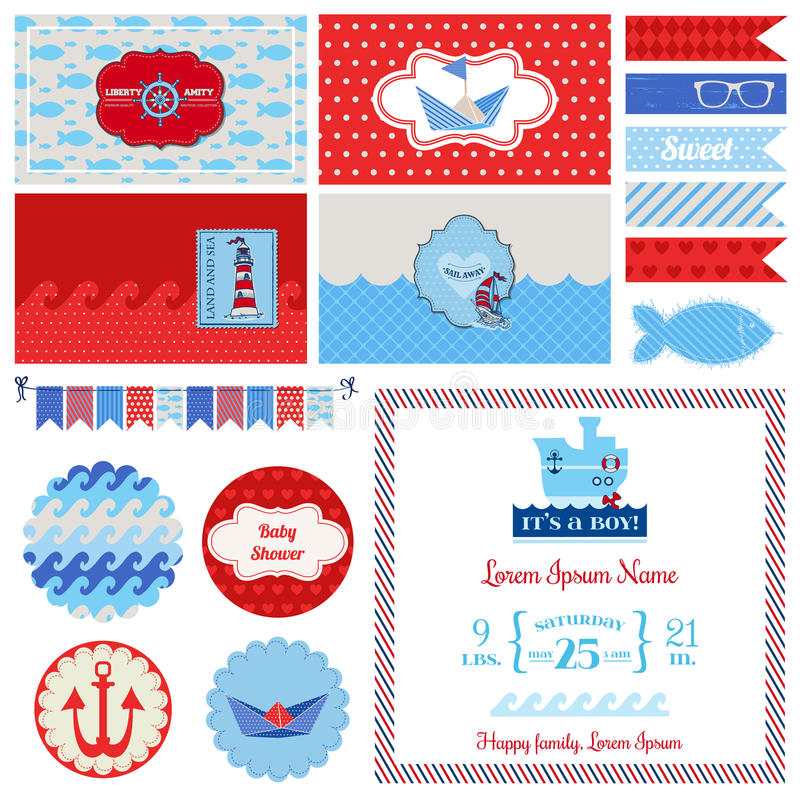Baby shower nautical set stock vector image 41613537 for Baby shower decoration set