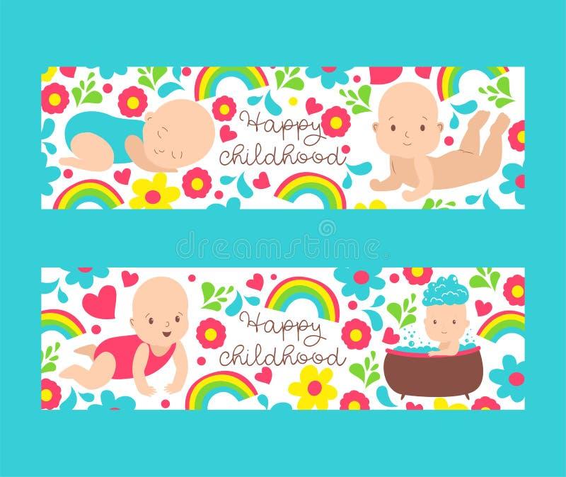 Baby shower for newborn vector illustration. Happy birthday, celebration greeting and invitation card. Baby shower with. Baby shower for newborn vector stock illustration