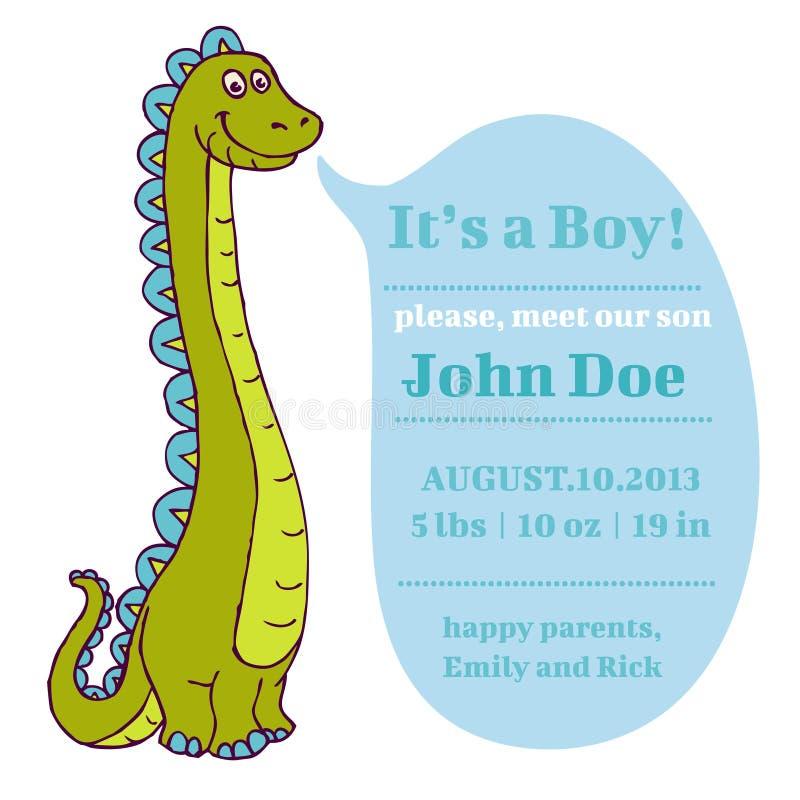 Baby shower och ankomstkort - Dino Theme stock illustrationer