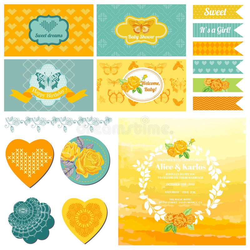 Free Baby Shower Or Party Set Royalty Free Stock Image - 41188186