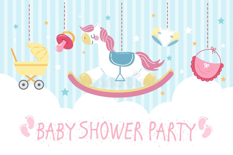 Baby shower party invitation card vector illustration