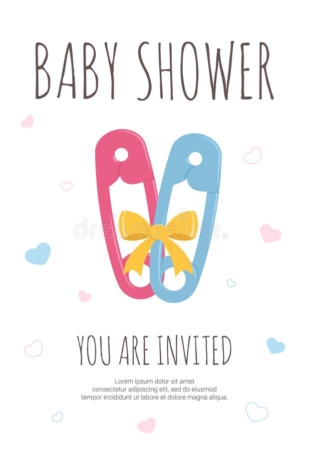 Baby shower party template for future mommy of boy and girl twins with pink and blue toddler safety pins royalty free illustration
