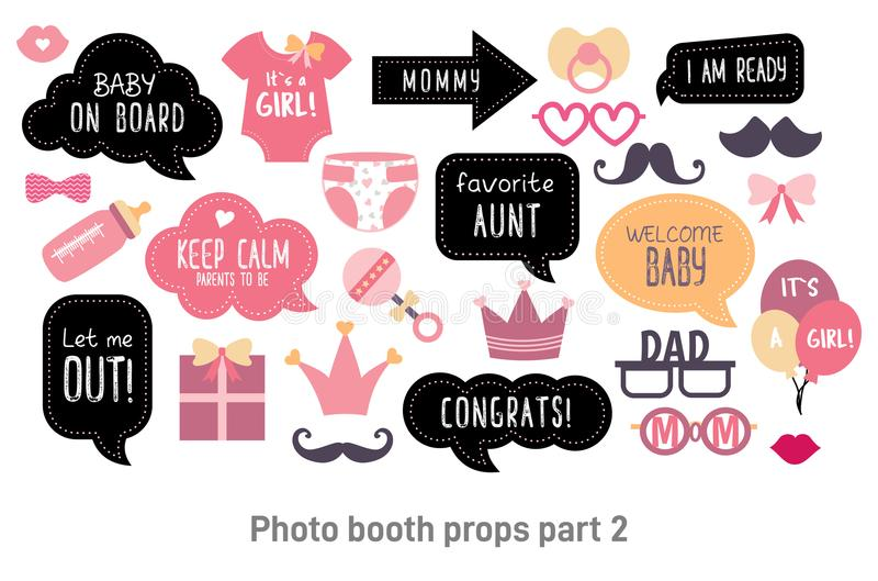 Baby shower photo booth photobooth props set. Baby shower photo booth props. Happy birthday party for girl. Pink cards and speech bubble with funny quotes for stock illustration