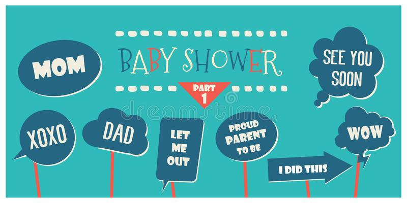 Baby shower photo booth props vector elements royalty free illustration