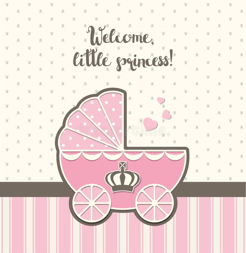 Baby shower, pink vintage stroller with royal crown , illustration. Baby shower, pink vintage stroller with royal crown, vector illustration, eps 10 with vector illustration
