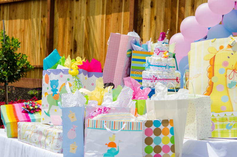 Download Baby shower presents stock image. Image of tissue, happiness - 40356961