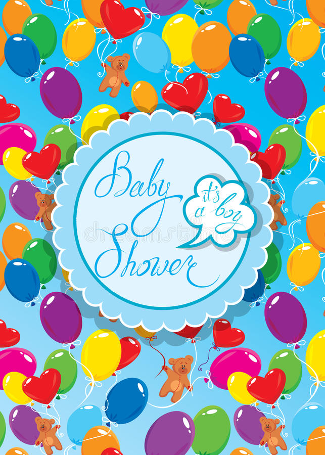 Baby Shower with round frame, air balloons and Teddy bears on bl. Ue background. Calligraphic text Its a boy. Congratulations on the birth of babyboy royalty free illustration