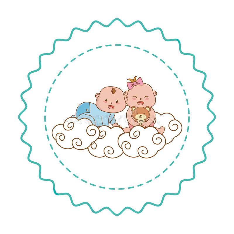 Baby shower round label stamp with cartoons. Baby shower happy babies holding bottle between clouds cartoons in round label stamp vector illustration graphic stock illustration