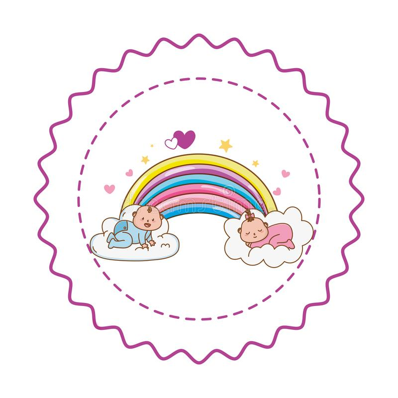 Baby shower round label stamp with cartoons. Baby shower spleeping babies in clouds on rainbow with hearts and stars cartoons in round label stamp vector stock illustration