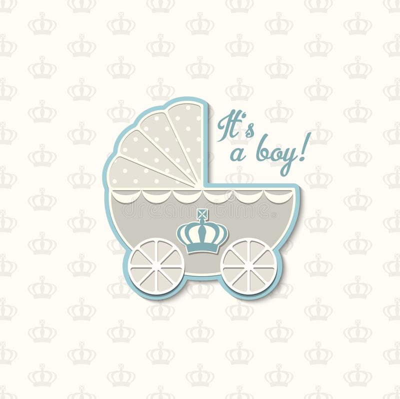 Baby shower with royal crown and blue vintage stroller, illustration. Baby shower with royal crown and blue vintage stroller, vector illustration, eps 10 with royalty free illustration