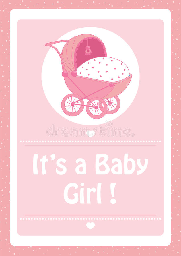 Baby Shower, It`s a baby girl pink invitation card,with baby stroller stock illustration