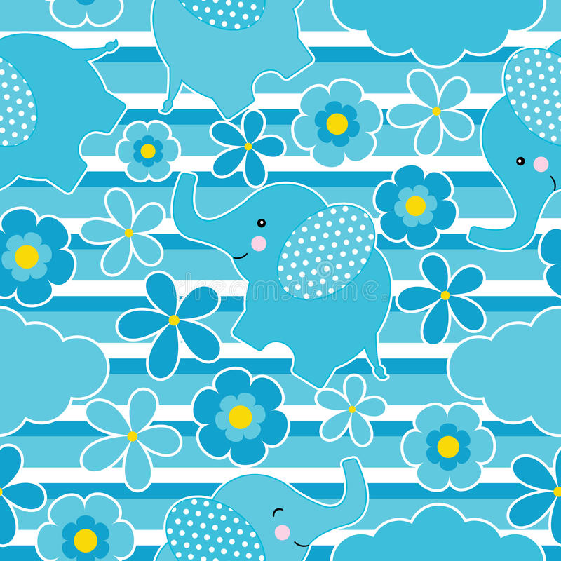 Baby shower seamless pattern with cute elephant and flowers on stripes background stock illustration