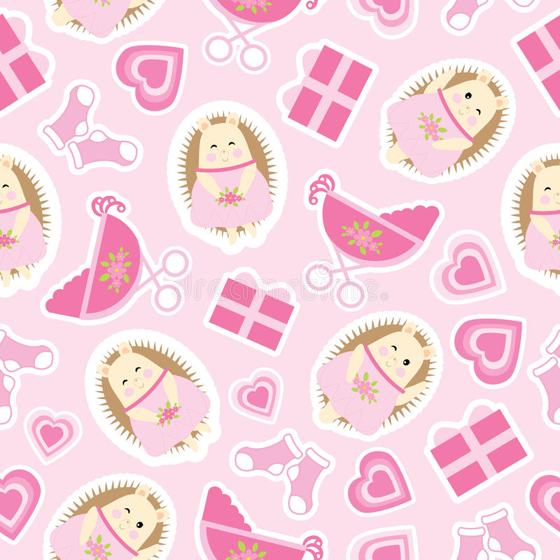 Baby shower seamless pattern with cute hedgehog gifts baby cart baby shower seamless pattern with cute hedgehog gifts baby cart and socks on pink background suitable for baby shower wallpaper scrap paper and fabric voltagebd Gallery