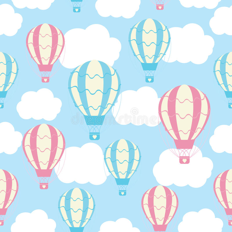 Baby shower seamless pattern with cute hot air balloons on blue sky vector illustration