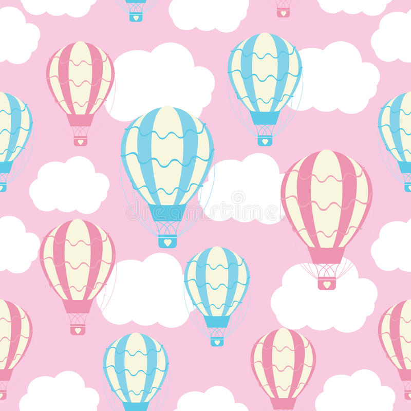 Baby shower seamless pattern with cute hot air balloons on pink sky stock illustration