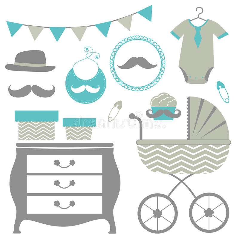 Baby shower set for a baby boy. New man is coming baby shower set stock illustration
