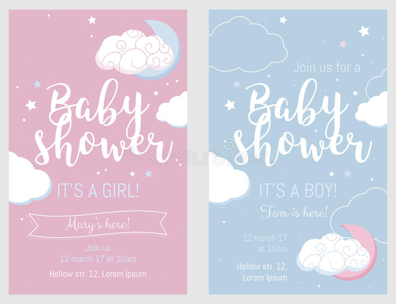 Baby shower set. Cute invitation cards for baby shower party. royalty free stock photo