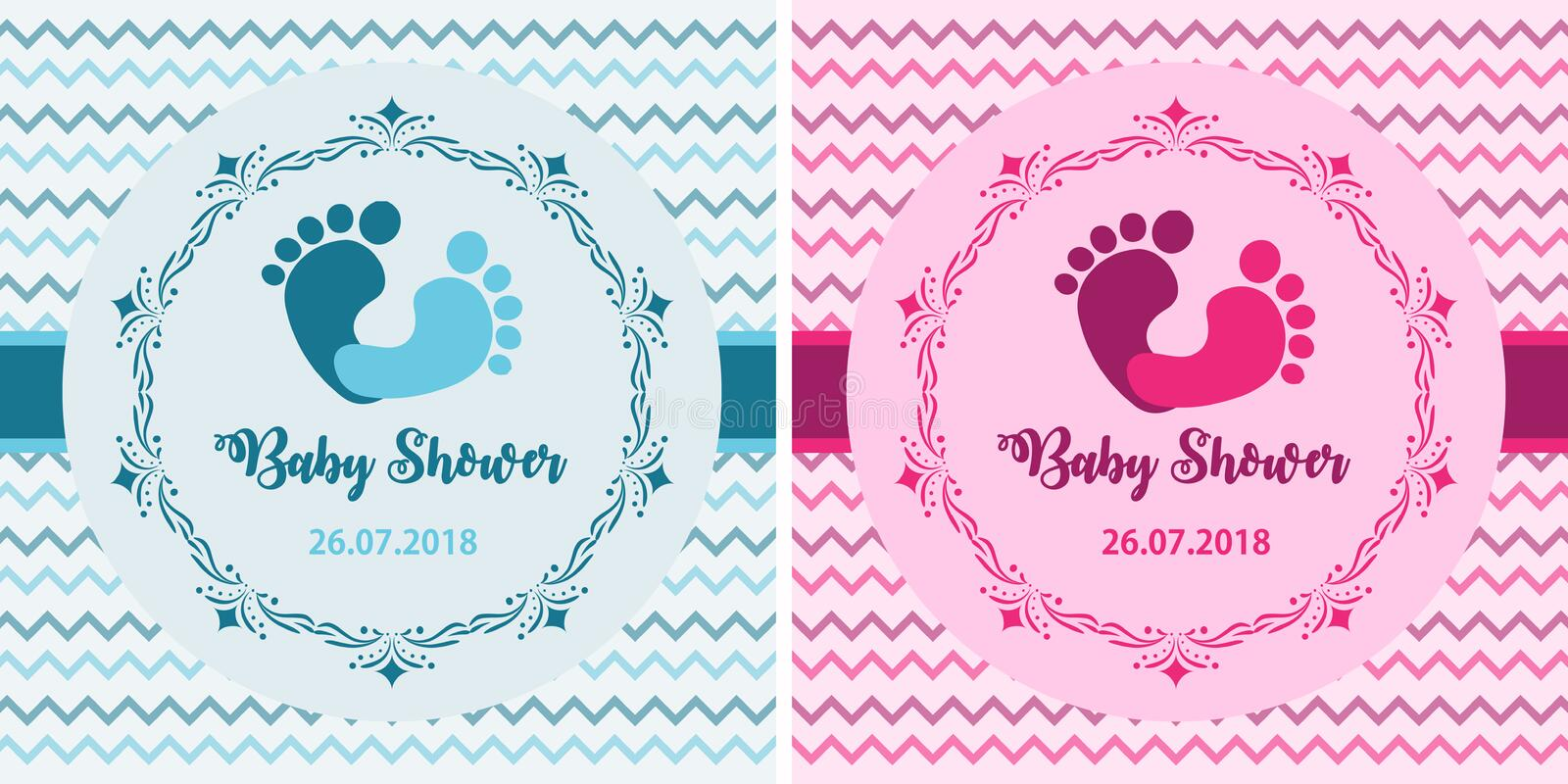 Baby shower set. Cute invitation cards design for baby shower party. Template design for girl and boy royalty free illustration