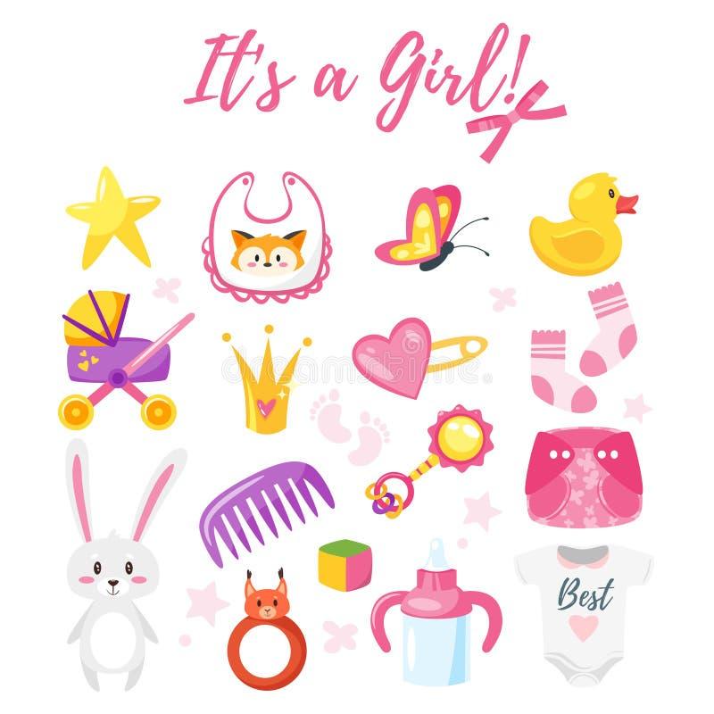 baby shower set of symbols vector illustration