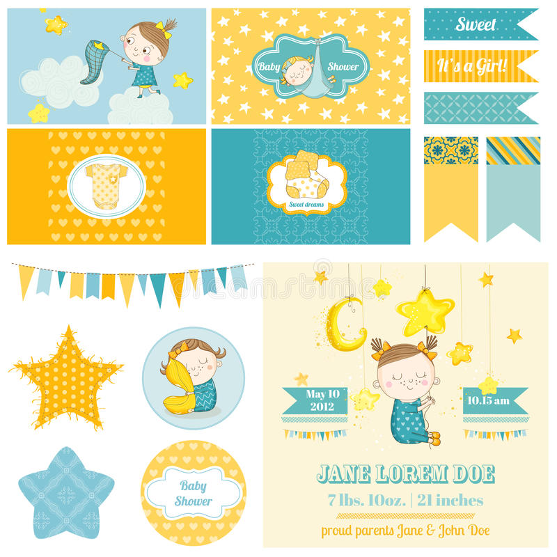 Baby Shower Sleeping Girl Theme - for Party, Scrapbook stock illustration