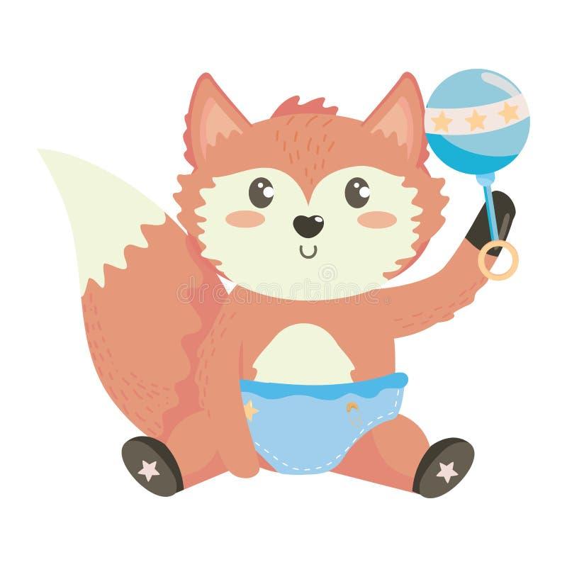 Baby shower symbol and fox design vector illustration