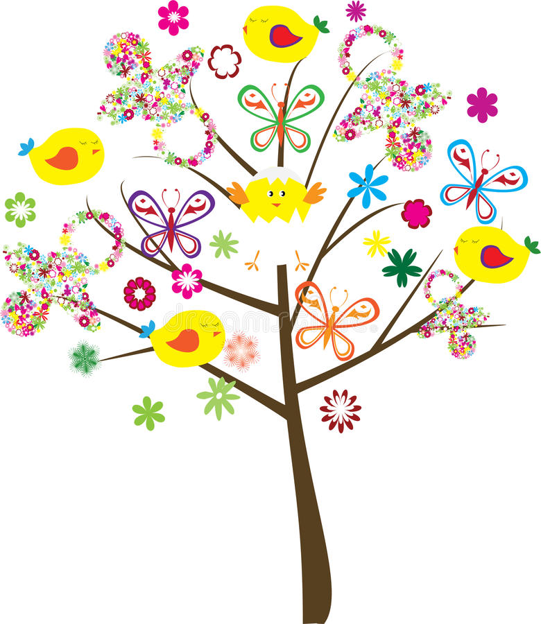 Baby shower tree. Fun tree for baby shower vector illustration