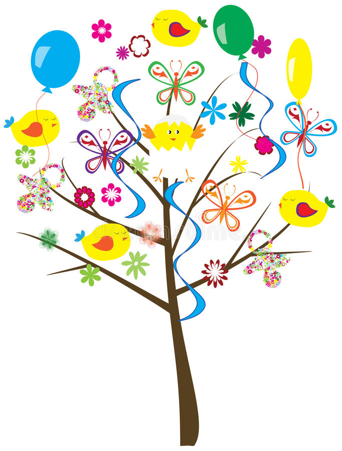 Baby shower tree vector illustration