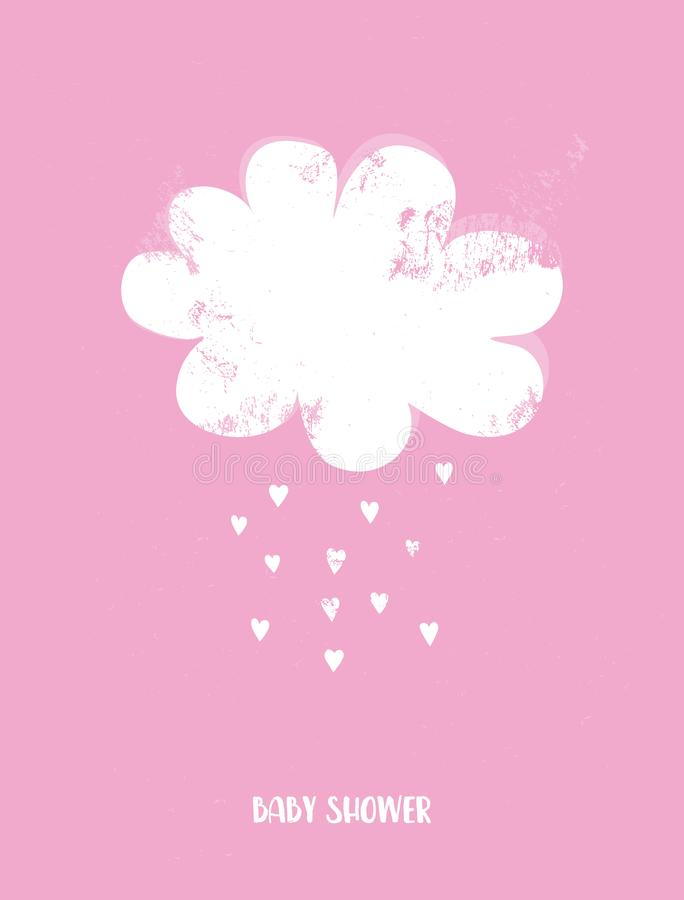 Baby Shower Vector Illustration with White  Cloud and Rain of Heart Shape on a Pink Background. royalty free stock photography