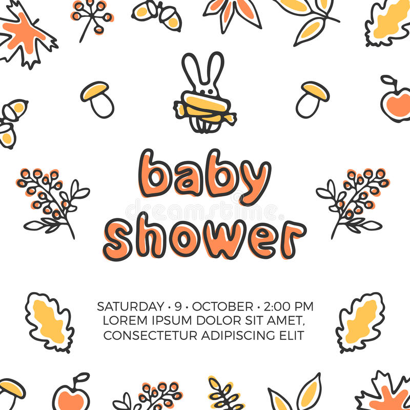 Baby shower vector template with cute doodle rabbit. Autumn leaves and berries. Orange maple and oak leaves stock illustration