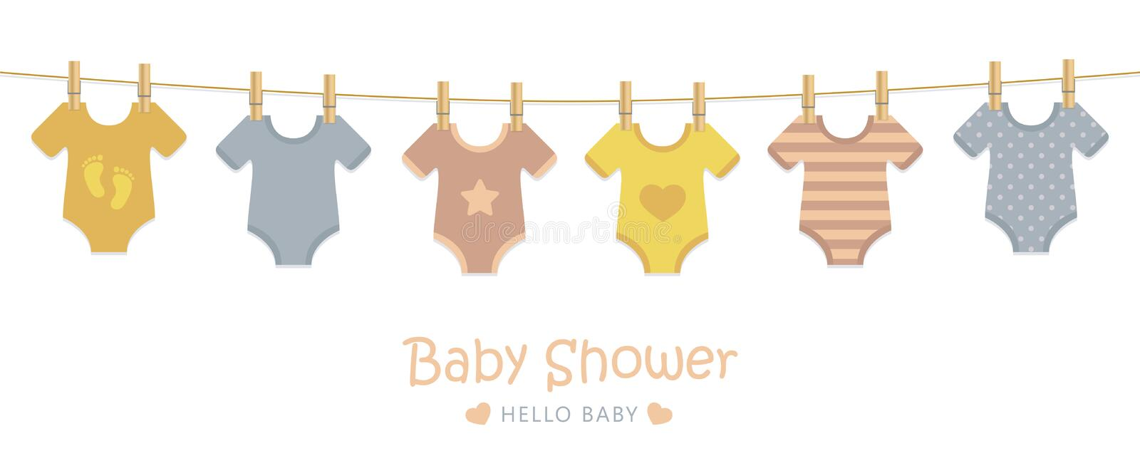 Baby shower welcome greeting card for childbirth with hanging bodysuits. Vector illustration EPS10 royalty free illustration