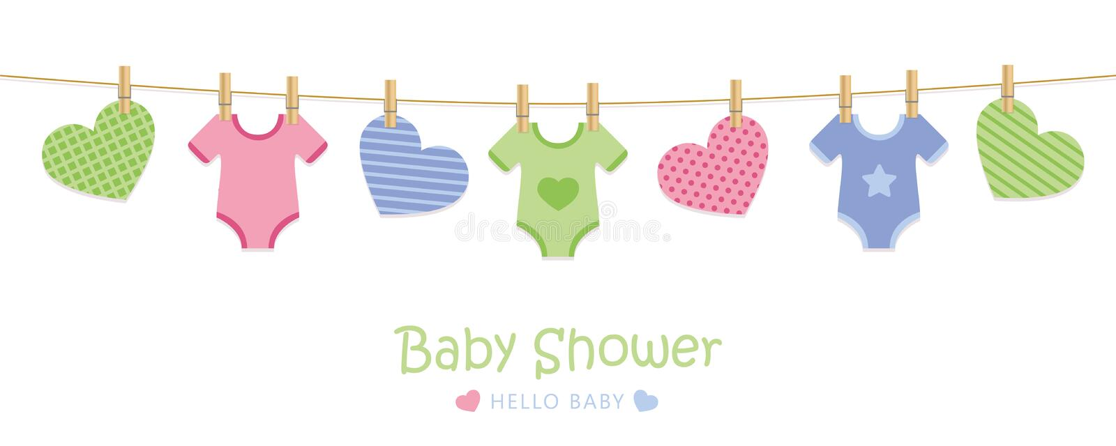 Baby shower welcome greeting card for childbirth with hanging hearts and bodysuits. Vector illustration EPS10 vector illustration