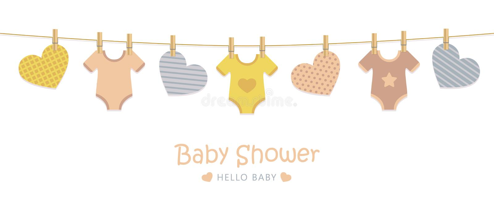 Baby shower welcome greeting card for childbirth with hanging hearts and bodysuits. Vector illustration EPS10 stock illustration