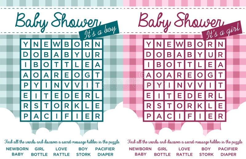 Download Baby Shower Word Puzzles Stock Vector. Illustration Of Letters    34791733