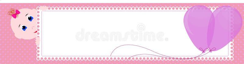 Baby showerbaner Gullig flicka som rymmer tecknet för att skriva stock illustrationer